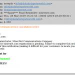 Domain service cancellation scam.