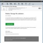 Mailbox over storage revalidation email scam.