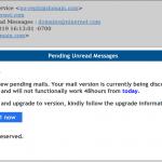 Pending unread messages email scam.